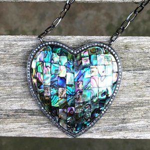 NEW Pave Diamond & Abalone Heart Sterling Necklace